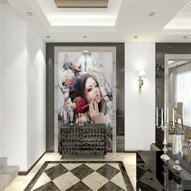 Japanese custom 3D wallpaper mural 3D wallpaper backdrop of large Japanese Beauty parlor tattoo parlor, beauty Art FIG.
