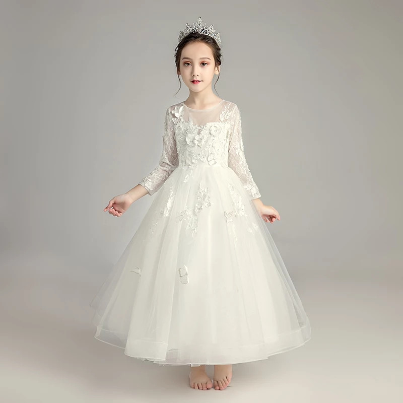 3-15Y Kids Girls Long White Lace Flowers Party Ball Gown Prom Dresses Kid Teens Princess Wedding Children First Communion Dress zika big girls lace openwork dresses tassel polyester ball gown kids costume teens girls vestidos black children dress 6 15t