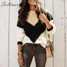 Sollinarry O Neck Chic Knitwear Sweater Women 2019 Casual Stripe Knitted Winter Sweaters Jumper Ladies Patchwork Pullovers Chic