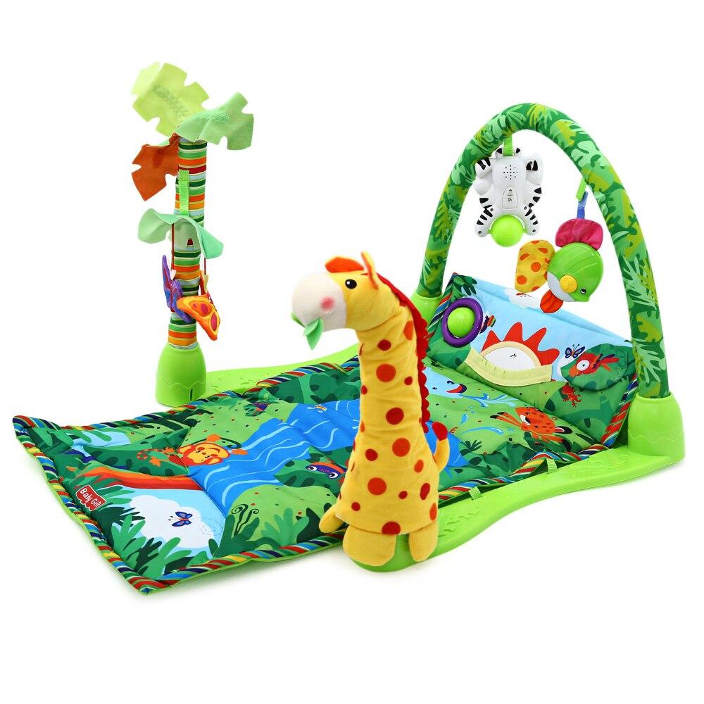 Musique de forêt tropicale bébé jouer tapis souple activité jouer Gym jouet adapté pour bébé âgé de plus de 6 mois peut encourager les enfants à donner un coup de pied aux jouets