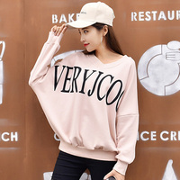 2017 Women S Autumn V Neck Pullover Loose Batwing Sleeve Long Sleeve Letter Print Hoodies Female