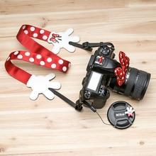 Универсальный милый ремень для камеры с Минни, плечевой ремень, держатель для крышки объектива с 3d-изображением героев мультфильмов для Canon,...
