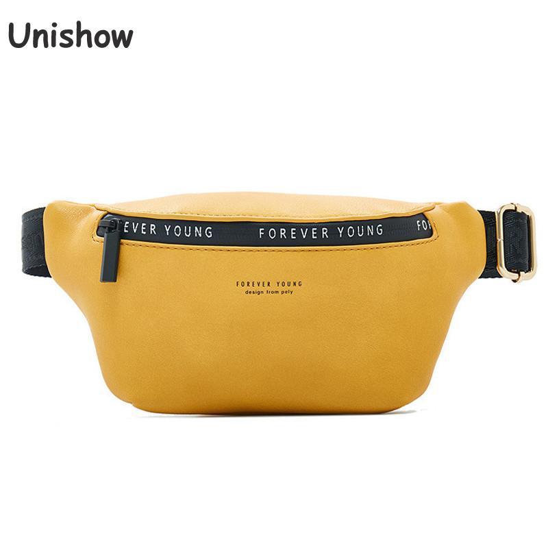 Unishow Women Waist Bag Solid Zipper Fanny Pack For Women Brand Designer Pu Leather Belt Chest Banana Bag Waist Purse For Women