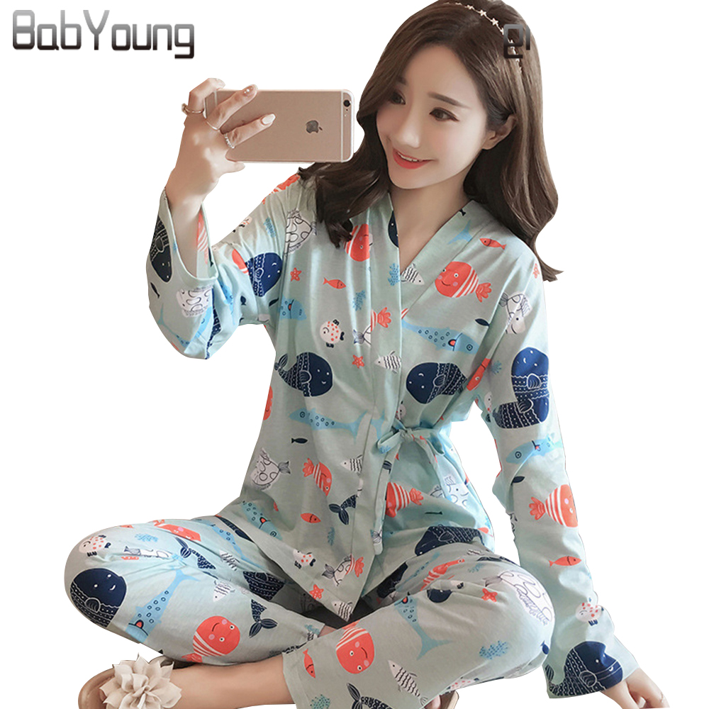 BabYoung 2018 Spring Japan Kimono Style Women Pajamas Set Confinement Suit Flower Print Long Sleeve Cotton Home Wear Plus Size