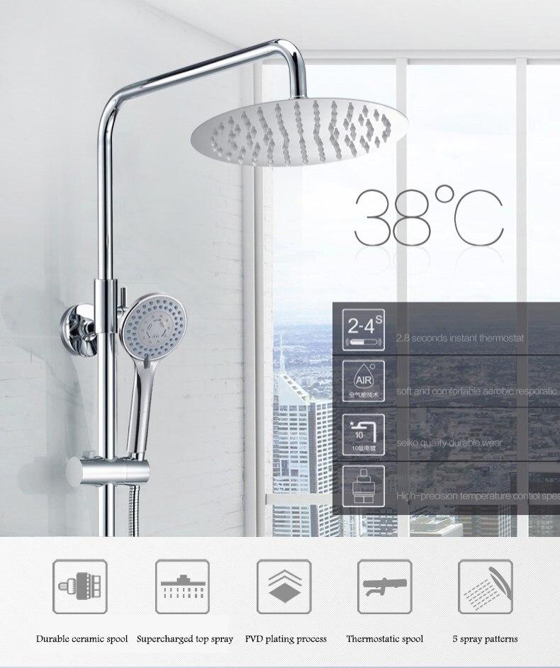 Ensemble de douche de salle de bain robinet thermostatique intelligent à température constante tête de douche de pluie robinet de douche système de douche doccia