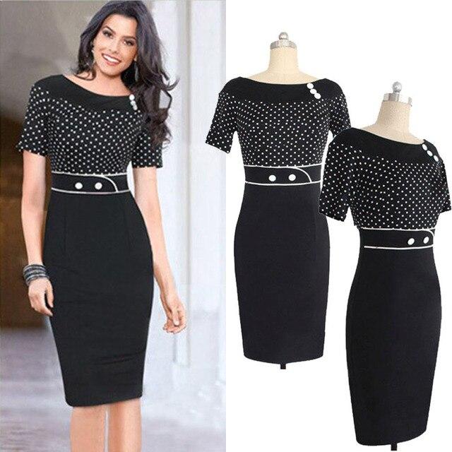 Black white polka dot formal dress