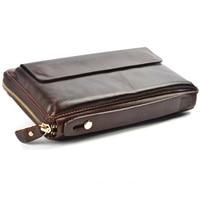 Men Wallets with Phone Bag Vintage Genuine Leather Clutch Wallet Male Purses Large Capacity Long Men's Wallets PT1208