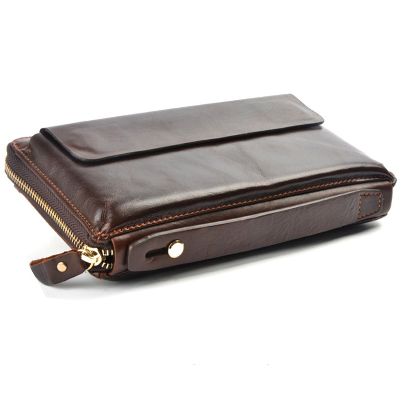 Men Wallets With Phone Bag Vintage Genuine Leather Clutch Wallet Male Purses Large Capacity Long Men's Wallets PT1208