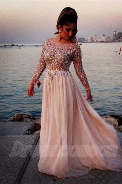 2016 Classy Long Beading Pretty Prom Dresses Simple Cheap Prom ...
