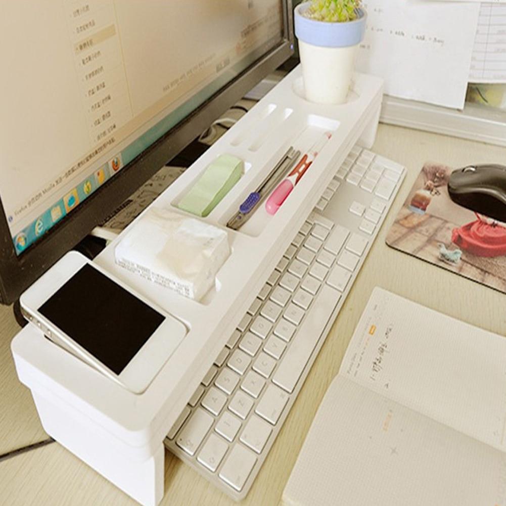 De Moda De Madera De La Computadora De Escritorio Organizador De Almacenamiento Teclado Estante Blanco Organizador