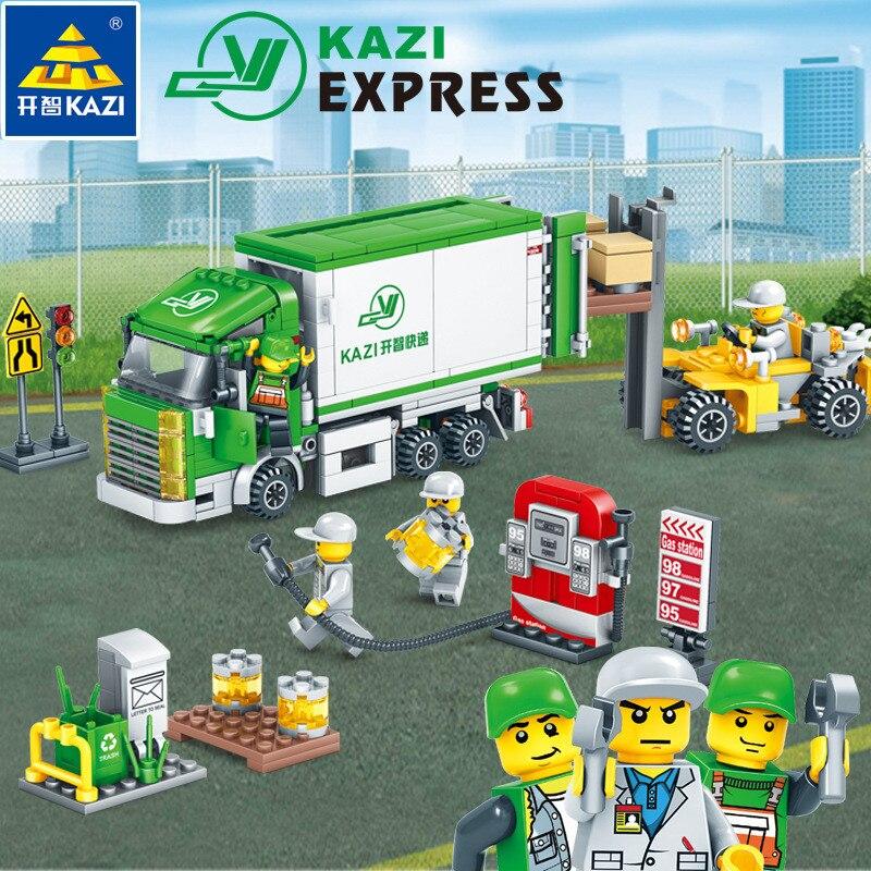 4Pcs/lot City Express Truck Building Blocks Sets LegoINGLs Playmobil DIY Bricks Figures Brinquedos Educational Toys For Children