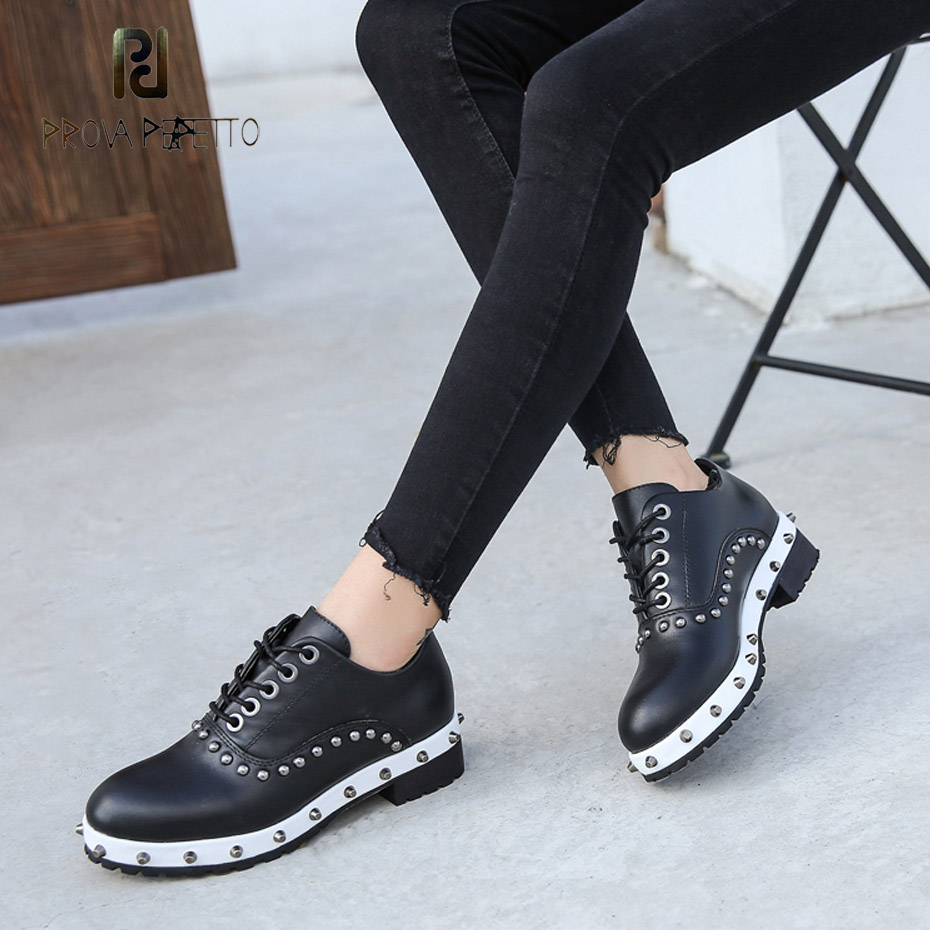 Prova Perfetto fashion rivet studded mixed color thick sole martin shoes women round toe lace up casual knight boot real leather prova perfetto 2018 fashion sexy red mouth casual shoes women lace up platform patent leather round toe shoes pink black females