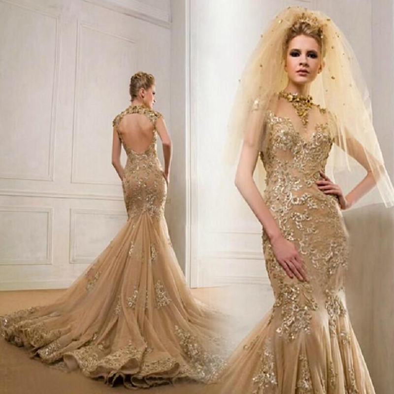 New Design Gold Lace Mermaid Evening Dresses Long Open ...