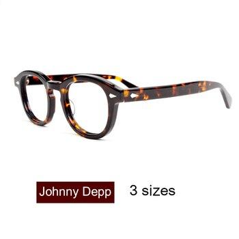 แว่นตาผู้ชาย Johnny Depp แว่นตาใสเลนส์ยี่ห้อออกแบบแว่นตาชาย Vintage สไตล์ sq000