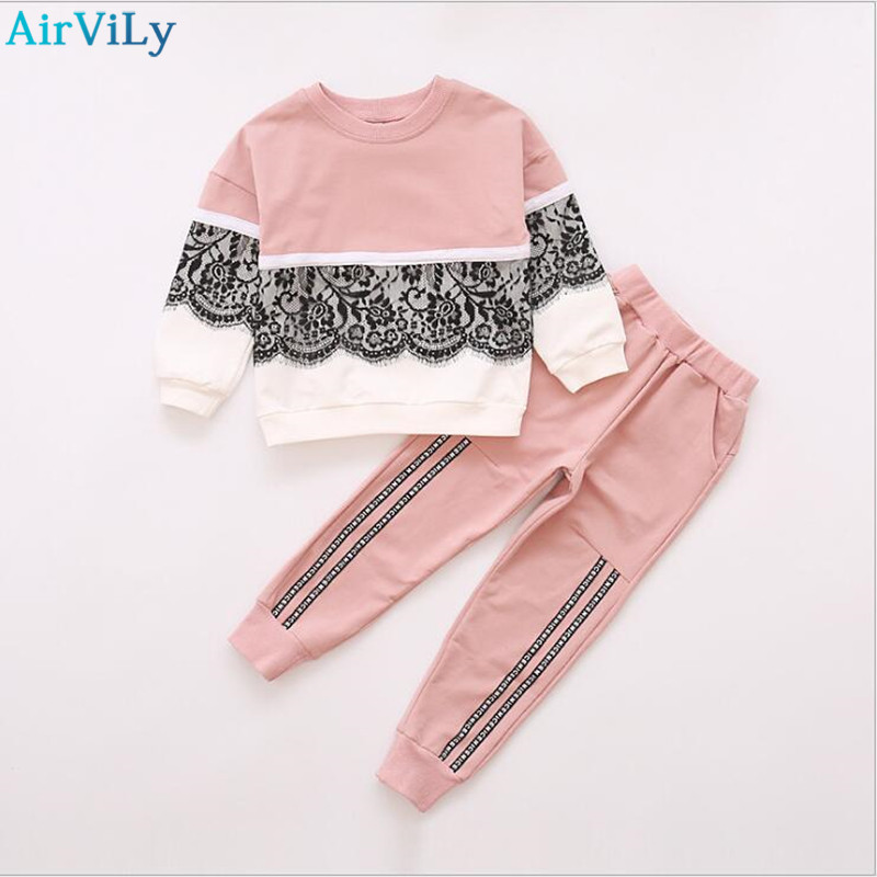 Christmas Girls Sports Suits Fashion Toddler Girl Clothing Sets 2017 Spring Autumn Lace Coat Outfit Clothes Size 4 6 12 14 Year girl s fashion suits 100