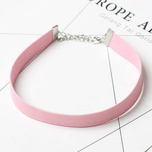 2017 Black Leather Choker Necklace Women Gothic Chokers Necklaces Pink Chocker ketting collares mujer collier ras du cou bijoux(China)