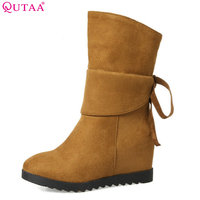 QUTAA 2018 Women Fashion Mid Calf Boots Slip On Black Wedges High Heel Round Toe Westrn