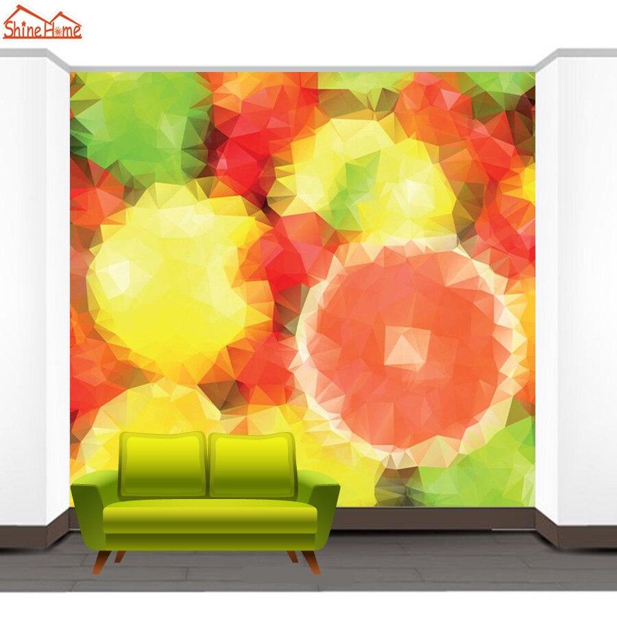 ShineHome Orange Modern Abstrak Lukisan Keren Latar Belakang Wallpaper Rolls 3d Wallpaper untuk Dinding 3 d