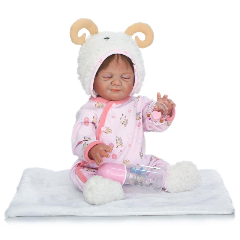 New 48cm Real Full Body Silicone Sleeping Girl Babies Doll  Newborn Girl babies Kids Child Brithday Gift Bathe ToyNew 48cm Real Full Body Silicone Sleeping Girl Babies Doll  Newborn Girl babies Kids Child Brithday Gift Bathe Toy