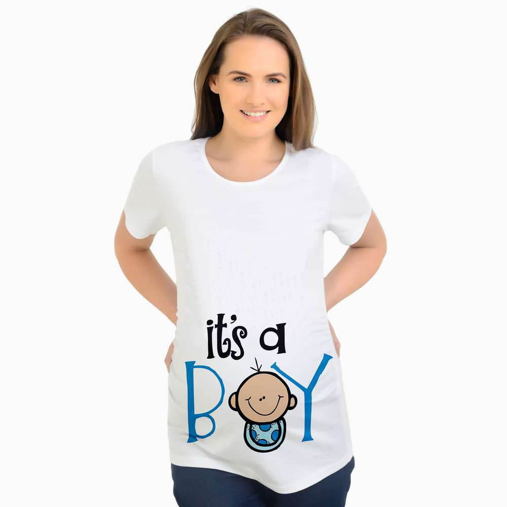Мэгги Walker беременных одежда мальчик мультфильм печати с коротким рукавом О-образным вырезом из 100% хлопка безопасности Повседневное и длинн...
