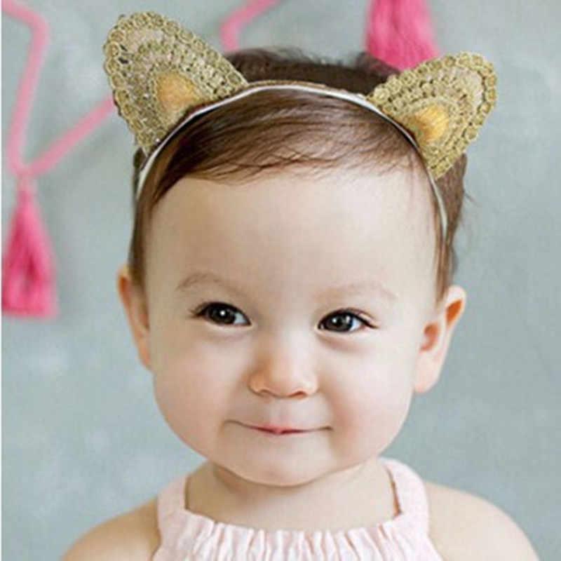 Супер ткань Новый ободок с ушками для девочек, аксессуары для волос, золотистый мультфильм Обёрточная бумага хорошо резинки для волос прекрасные украшения для волос эластичная повязка на голову