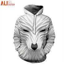 Alisister Plus Size Hoodies 3d Wolf Print Sweatshirts Men Women Autumn Winter Casual Pullover Male Female Tracksuit Jacket(China)