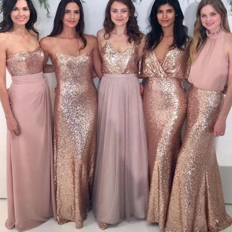 5 Styles Long   Bridesmaid     Dresses   2018 Sexy Backless Gold Sequined   Dress   for Wedding Party New Formal Robe demoiselle d'honneur