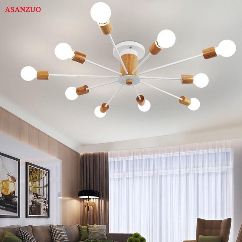 Wood Ceiling Lights for living room retro Home Lighting Multi Iron Arm Ceiling Lamp E27 Restaurant Light fixture