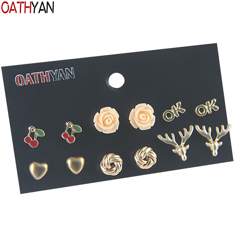 Earrings Oathyan 6 Pairs/set Casual Gold Color Round Heart Elk Stud Earrings Sets Female Acrylic Flower Earring Red Cherry Small Brincos Stud Earrings