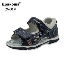 Apakowa/Обувь для больших детей; летние сандалии из натуральной кожи с открытым носком для мальчиков; Ортопедическая детская обувь на плоской подошве; европейские размеры 26-31