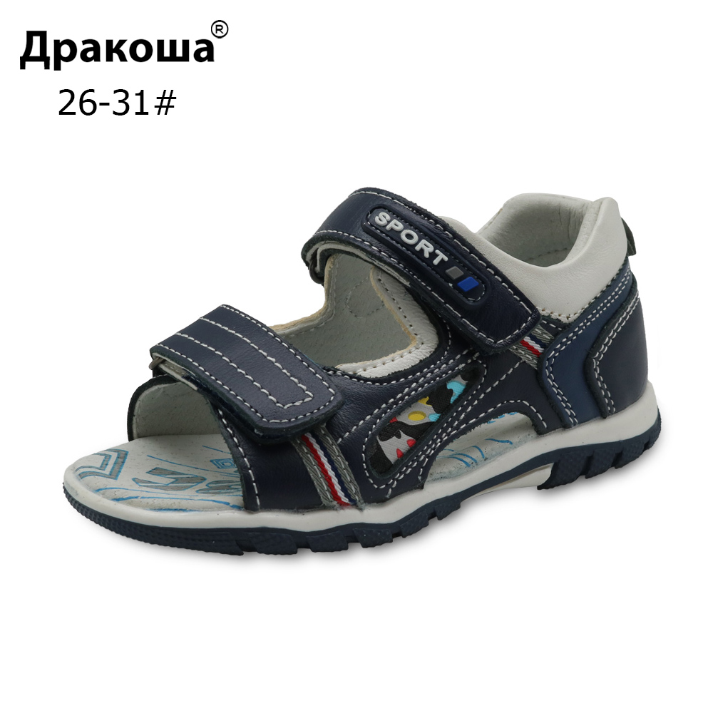Apakowa Brand 2018 New Big Kids Shoes Genuine Leather Boys Sandals with Arch Support Flat ...
