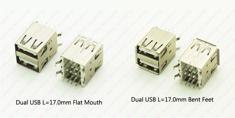 5PCS Dual USB Connector Female 4 Bent Feet 8PIN DIP USB 2.0 Jack 180 Degree USB Female Socket L=17.0MM Curled/Flat Mouth 20pcs micro usb 5pin no side ox horn female usb socket flat mouth four legs socket mini usb connector free shipping