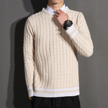 High Quality Men Sweater Brand New Twist Stripe Knitted Pullovers Men Long Sleeve Patchwork Color Knitwear Pull Homme 6XL-M Sale