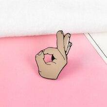 Все в порядке! Эмалированные значки на палец в виде руки, Значки для жестов, броши на булавке, кнопки, подарок для женщин и мужчин, ювелирные изделия