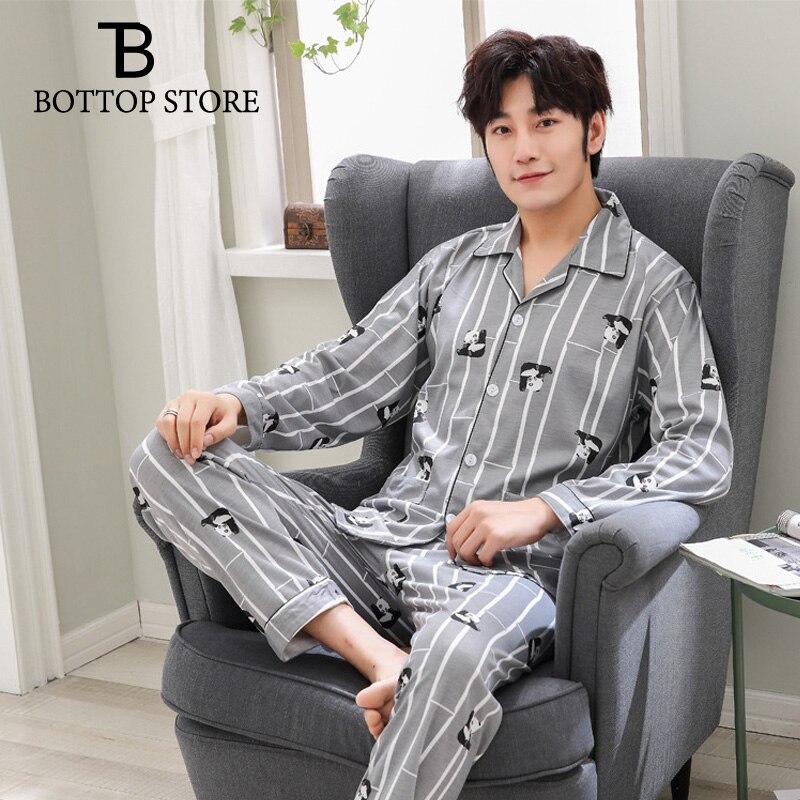 Men Pajama Set Cartoon Sleepwear Mens Nightshirt Man Sleep Tops Night Pants Male Nightwear Homewear Men Sleeping Suits Clothes