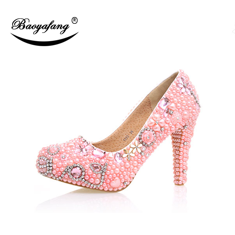 BaoYaFang Women wedding shoes Bride party shoes fashion pink pearl shoes woman high heels real leather platform shoes oxion epo302 joy red