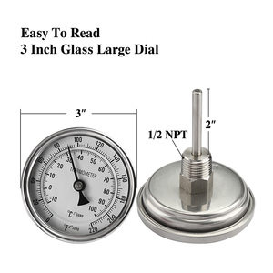 """Image 2 - Weldless Bi metal Thermometer Kit, 3""""Face & 2""""Probe, 1/2""""MNPT, 0~220F degree, Beer Brewing Thermometer, Homebrew Kettle Bar Tool"""