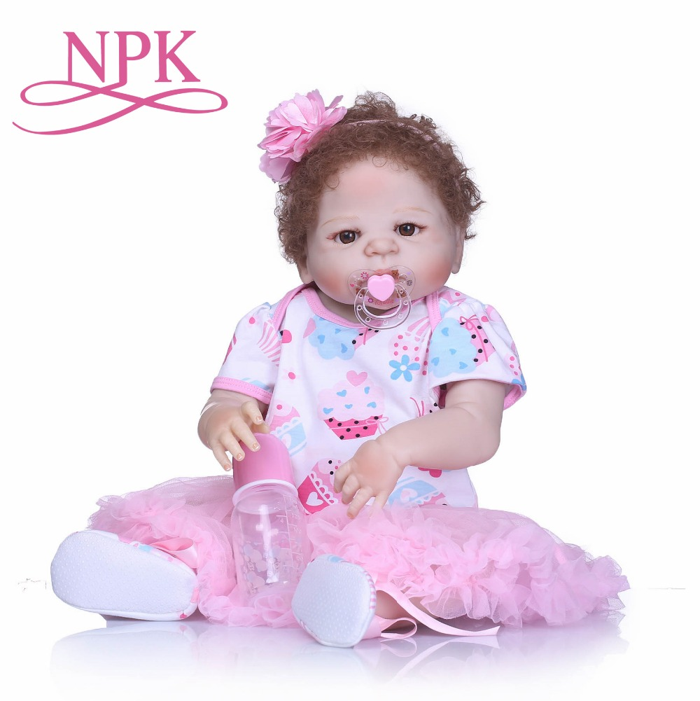 Lifelike Silicone Reborn Baby Menina Newborn Baby Dolls Full Vinyl body Rooted Curly Fiber Hair Kids Playmates and Toys Birthday вилки premium однораз пластик 6шт в уп цвет хром boyscout 61706