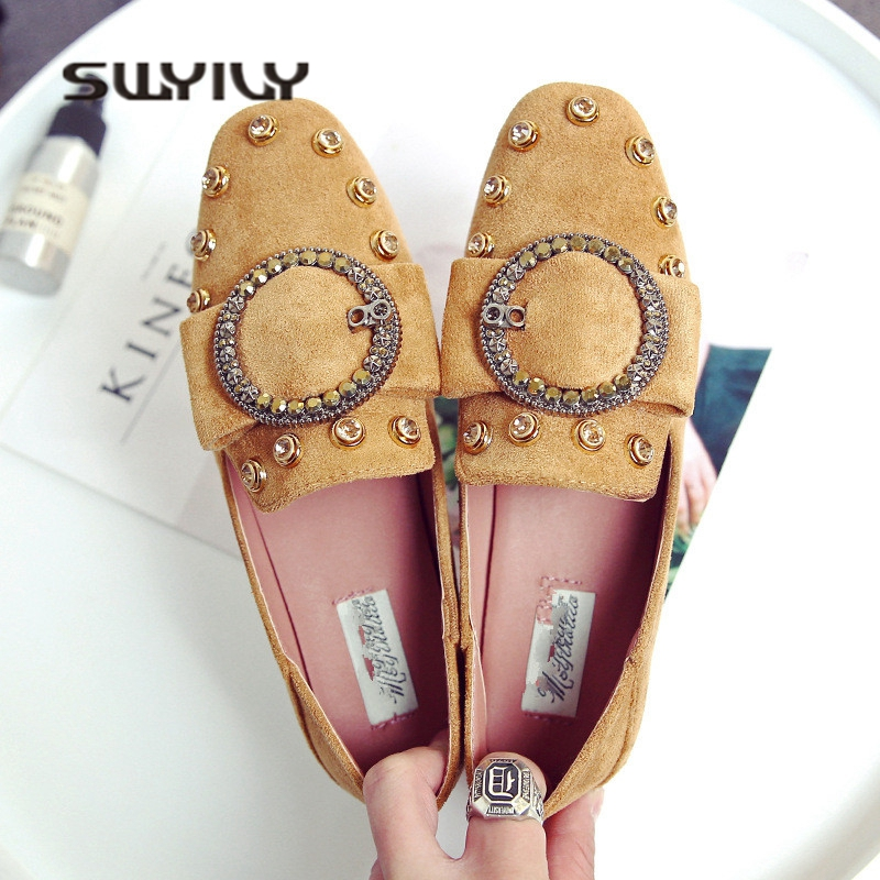 SWYIVY Women Flat Shoes Rivet 32-44 Plus Size Woman Casual Shoes 2018 42 43 Big Size Female Flats Leisure Shoes Comfortable 2017 fashion women shoes woman flats high quality casual comfortable pointed toe rubber women flat shoes plus size 35 42 s097