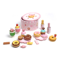 Baby mother garden wooden strawberry donuts toy afternoon tea food combination toys set