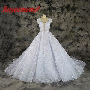 Image 1 - Vestido דה Noiva תחרה נוצצת חתונה שקוף למעלה מיוחד תחרה חתונה שמלת תפור לפי מידה מפעל סיטונאי מחיר כלה שמלה