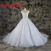 Vestido de Noiva shining ลูกไม้ด้านบนโปร่งใสพิเศษชุดแต่งงานลูกไม้ custom made โรงงานขายส่งราคาชุดเจ้าสาว