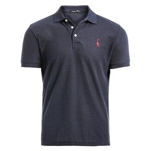 NEGIZBER جديد رجل قميص بولو رجل عارضة الغزلان التطريز القطن قميص بولو الرجال قصيرة الأكمام عالية كمية بولو الرجال