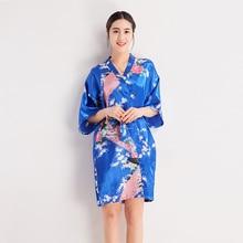 c2f525a08210 Biru Muda Cina Wanita Sutra Jubah Gaun Musim Panas Seksi Mini Baju Tidur  Baju Tidur Kimono Yukata Bunga S M L XL XXL xxxl NR040