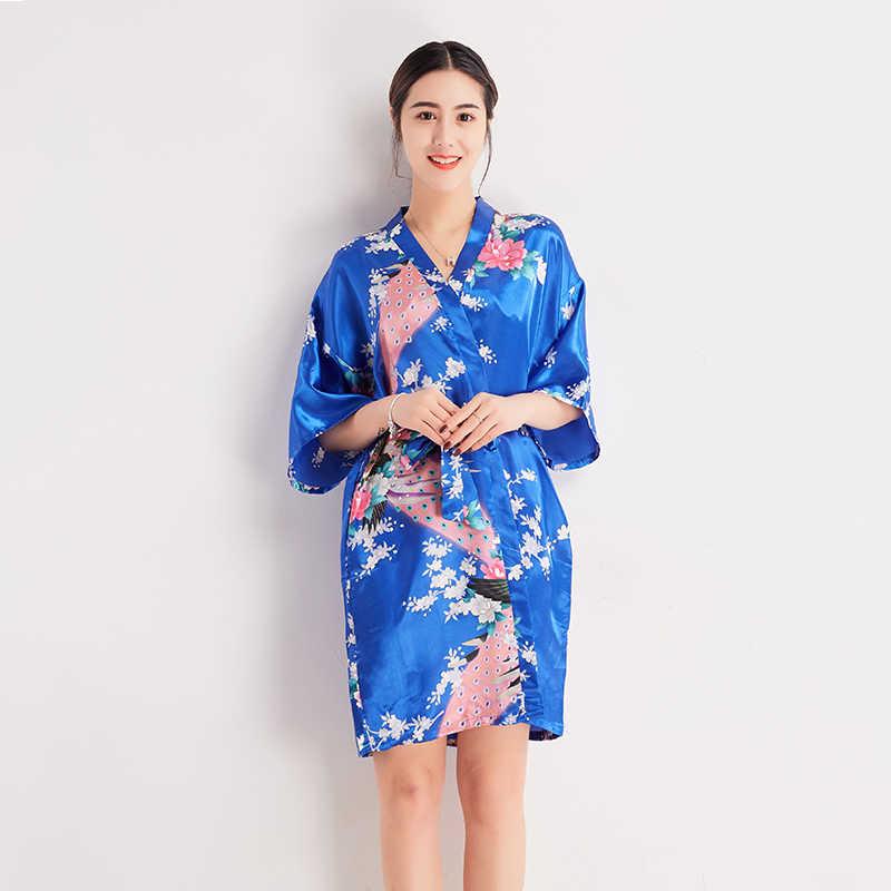 Light Blue Chinese Women Silk Robe Gown Summer Sexy Mini Nightgown  Sleepwear Kimono Yukata Flower S M L 9bb4fd452