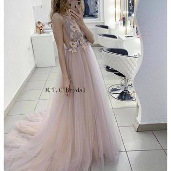 Backless Sexy Tulle Prom Dresses 2019 Graceful Flowers A Line Long Evening Gown Charming Women Special Occasion Dress Cheap