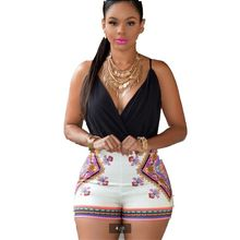 Europ United Summer New Fashion Women Shorts Jumpsuits V-neck Condole Belt Backless Sexy Printing Slim Big yards Jumpsuits T0668