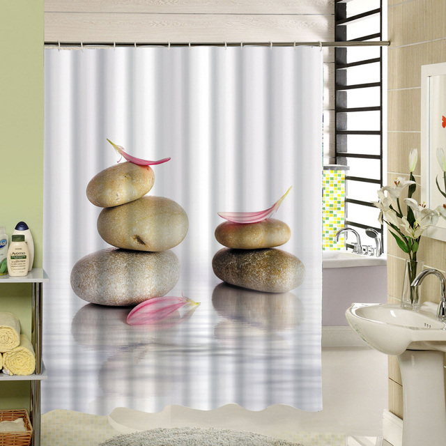 Stone Garden Zen Shower Curtain 180X180cm Waterproof Textile Polyester SPA  Decor Fabric Mildew Bath Accessory 12