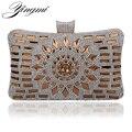 HOT glass diamond silver evening bags gold clutch bag elegant blue bag party wedding bridal purse 4 colors