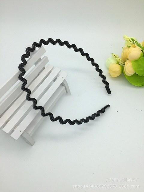1 pc Fashion wave Mens Women Unisex Black Wavy Hair Head Hoop Band Sport Headband Hairband hair accessories 1